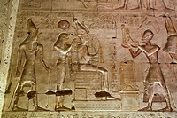 Bas-relief of Ramses III Giving an Offering to Osiris, Temple of Seti I, Abydos, Egypt