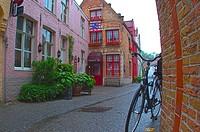 Bicycle on a sidestreet, Brugge, Belgium.