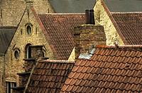 Tile roofs, Brugge, Belgium