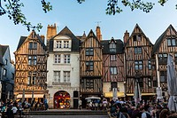 Timbered Houses and Terraces of Bars and Restaurants in Place Plumereau. Tours, Indre et Loire, Loire Valley, France, Europe.