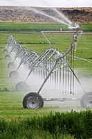Raft River, Idaho - Irrigation using a center-pivot sprinkler system.