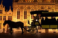 BRUGES : The Town Hall and the Burg Square. Count Baldwin I had a fortified castle built to protect the area against the ramping Normans and Vikings. ...