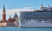 Giant cruise liner passing Basilica di San Giorgio Maggiore, Venice, Veneto, Italy, Europe.