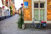 street corner and bicycle, Bruges, Belgium