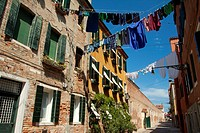 Hanging lines of drying washing across the street in Venice, Italy