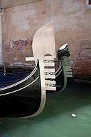 Iron stern ornaments of gondolas also known as ´risso´, or curl in Venice, Italy