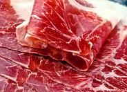 """Iberian ham slices; """"""""of acorn""""""""."""
