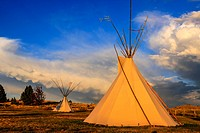 Native American Tepee on the Montana plains at sunset.