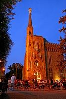 Night concert at Torre Bellesguard gardens, built by Antoni Gaudi between 1900 and 1909, Barcelona, Catalonia, Spain