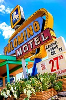 The Palomino Motel sign on Route 66 in Tucumcari New Mexico.