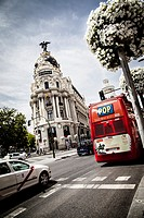 Metropolis building on Gran Via, Madrid, Spain.
