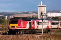 Virgin Rail morning service to Kings Cross London,from Aberdeen, leaving Montrose Angus Scotland UK.