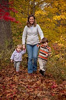 Mother holding her children´s hands ( girl and boy aged 1 and 3 respectively ) while walking up path through autumn leaves.