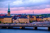 Panoramic of Gamla Stan island, Stockholm, Sweden.