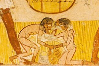 UNESCO World Heritage, Thebes in Egypt, Valley of the Nobles, tomb of Menna. Detail of an agricultural scene, 2 young girls are fighting for fallen ea...