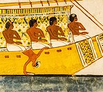 UNESCO World Heritage, Thebes in Egypt, Valley of the Nobles, tomb of Menna. Abydos pilgrimage, a small funny detail : A sailor leans acrobatically, i...