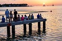 Florida, Key West, Keys, pier, Gulf of Mexico, Sunset Island, setting sun, watching, sailboats,