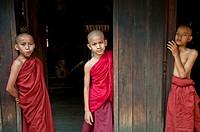 Monks at Nathtaung monastery, Taung Bi village, Bagan, Myanmar