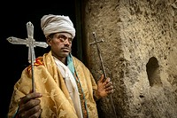 Priest with anceint religious relics. Asheton Maryam Monastery. Lalibela. Ethiopia.