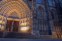 Santa Eulalia Cathedral at sunset, Cathedral of Barcelona, Catalonia, Spain