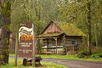 Cabin with entrance sign, Pioneer Farm Museum, Eatonville, Washington.