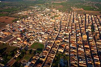 Aerial view of the town of Santa Barbara at the Montsià and belonging to the province of Tarragona, Catalonia