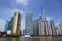 City skyline of skyscrapers, Pudong, Shanghai, China.