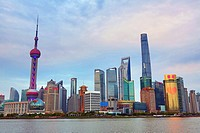 General view of the Pudong city skyline in Shanghai with the Oriental Pearl TV Tower, Shanghai, China.
