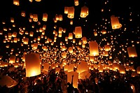 Khom Loy Lanterns at the Yee Peng Sansai Floating Lantern Ceremony, part of the Loy Kratong celebrations in homage to Lord Buddha at Maejo, Chiang Mai...