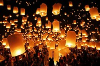 Yee Peng Sansai Floating Lantern Ceremony, part of the Loy Kratong celebrations in homage to Lord Buddha at Maejo, Chiang Mai, Thailand.