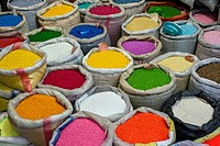 Powdered paint for sale, Grand bazaar in Tehran, Iran.