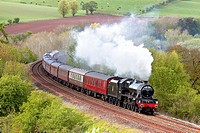 Steam train. LMS Jubilee Class ´Leander´. Settle to Carlisle Railway Line, Eden Valley, Cumbria, England, UK.