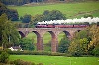 LMS Jubilee Class 45699 Galatea ´The Cumbrian Mountain Express´, steam train on the Settle to Carlisle Railway Line. Dry Beck Viaduct, Armathwaite, Ed...