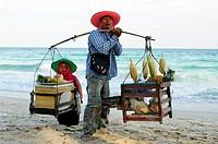 Hawker on the beach, Koh Samui, Thailand.