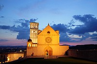 Basilica of San Francesco d´Assisi at dusk, Assisi, Italy.