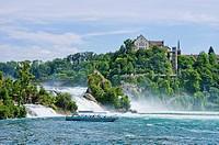 The Rhine Falls and Laufen Castle, Schaffhausen, Switzerland.