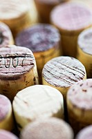 Close up of wine corks. Cork collection with variety. Concept of making or drinking wine.