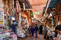 The Marrakesh Souk near the Jemaa el-Fnaa or Djemaa el Fna Square. Marrakesh or Marrakech. Morocco.