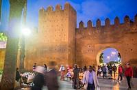 Medina walls and gate, Bab el Had Square, Rabat, Morocco.