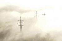 Power lines near Foncebadón, Comarca de la Maragatería, Leon province, Spain