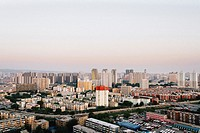 The view of buildings and streets in Taiyuan city.