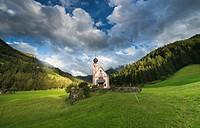 The Church of St. Johann in Ranui, Val di Funes, Dolomites, South Tirol, Italy.