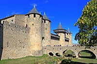 Comtal Chateau the medieval castle fortress at Carcassonne, Aude, Languedoc, Roussillon, France, a UNESCO world heritage site.