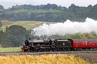 Steam locomotive LMS Jubilee Class Leander 45690 on the Settle to Carlisle Railway Line near Lazonby, Eden Valley, Cumbria, England, UK.