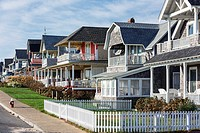 Charming cottage houses along Ocean Park, Oak Bluffs, Martha´s Vineyard, USA.