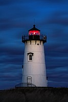 Edgartown Lighthouse at night, Martha´s Vineyard, Massachusetts, USA.