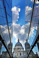 St Paul's Cathedral and reflection of clouds in glass of One New Change, London, England.