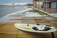 Surfboard view in Playa Lisa beach, Santa Pola, Alicante province, Spain