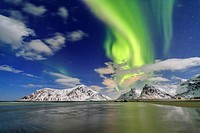 Northern Lights on Skagsanden sky. Lofoten Islands Northern Norway Europe.