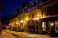 Sous-le-Fort during Christmas, Lower Town, Quebec City, Canada.